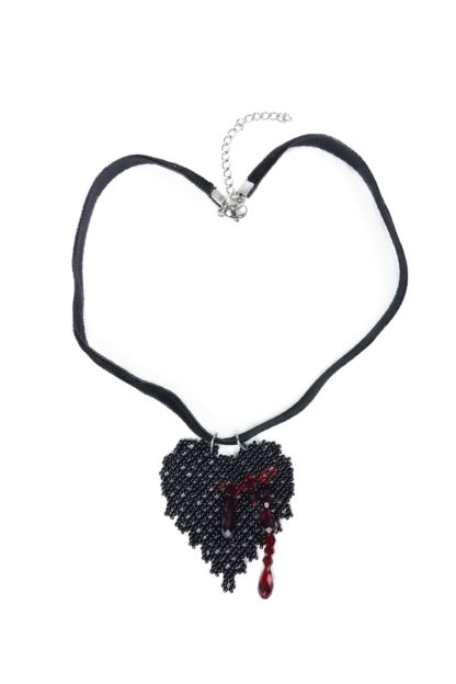 Black Bleeding Heart Pendant Necklace | Blood-Drenched Lace Collection by ChrisCrafting