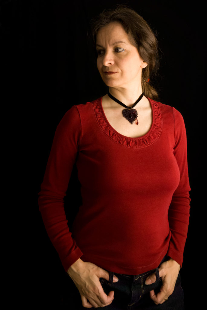 Bleeding Heart Pendant in black worn with Casual outfit